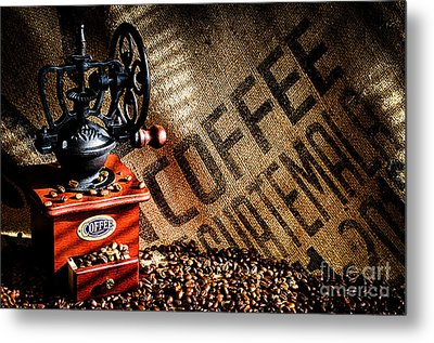 Coffee Beans And Grinder Metal Print by Danny Hooks