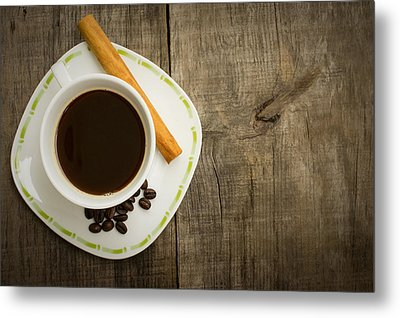 Coffee Cup With Beans And Cinnamon Stick Metal Print by Aged Pixel