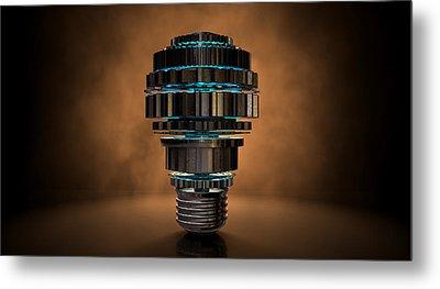 Cogwheel Lightbulb Shape Concept Metal Print by Allan Swart