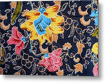 Colorful Batik Cloth Fabric Background  Metal Print by Prakasit Khuansuwan