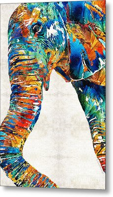 Colorful Elephant Art By Sharon Cummings Metal Print by Sharon Cummings