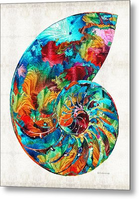 Colorful Nautilus Shell By Sharon Cummings Metal Print