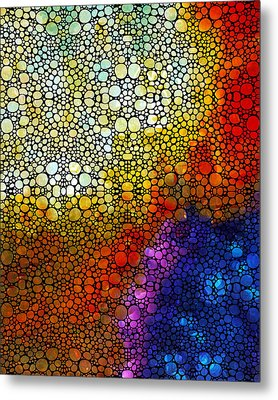 Colorful Stone Rock'd Abstract Art By Sharon Cummings Metal Print by Sharon Cummings