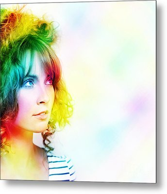 Colorful Woman Watching Colourful Rays Of Light Metal Print