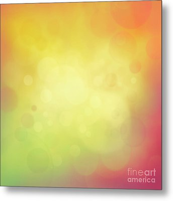 Colorful Yellow Bokeh Background Metal Print by Mythja  Photography
