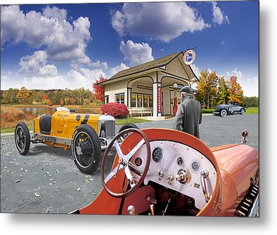 Colors Of Autumn Vintage Standard Oil Station Metal Print