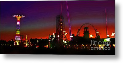 Coney Island Amusement Park And Parachute Jump Metal Print