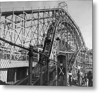 Coney Island - Cyclone Roller Coaster Metal Print by MMG Archives