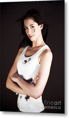Confident Female Tradesman Gets Job Done Metal Print by Jorgo Photography - Wall Art Gallery