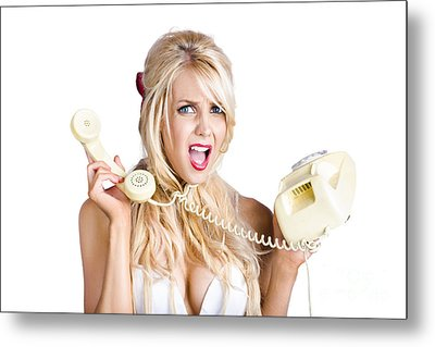 Confused Woman With Retro Phone Metal Print
