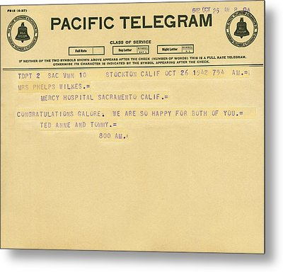 Congratulatory Telegram Metal Print by Underwood Archives