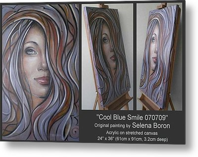 Metal Print featuring the painting Cool Blue Smile 070709 by Selena Boron