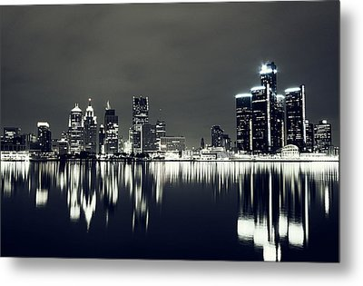 Cool Detroit Night Skyline Metal Print by Alanna Pfeffer