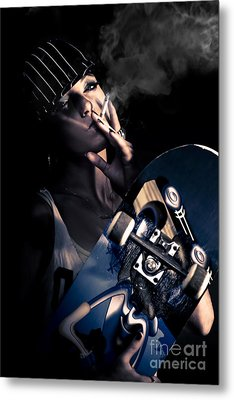 Cool Smoking Woman With Skateboard Metal Print by Jorgo Photography - Wall Art Gallery