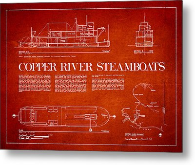 Copper River Steamboats Blueprint Metal Print by Aged Pixel