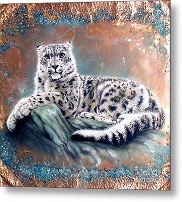 Copper Snow Leopard Metal Print