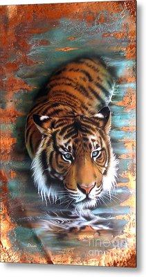 Copper Tiger II Metal Print by Sandi Baker