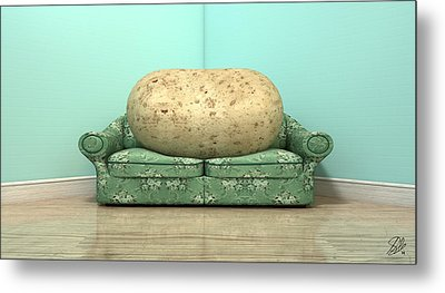 Couch Potato On Old Sofa Metal Print by Allan Swart
