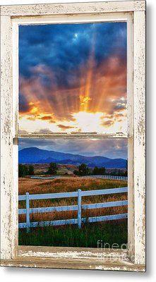 Country Beams Of Light Barn Picture Window Portrait View  Metal Print by James BO  Insogna