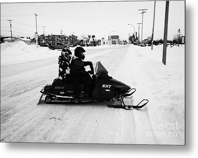 couple on a snowmobile Kamsack Saskatchewan Canada Metal Print
