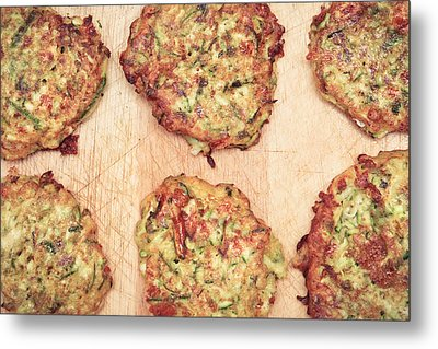 Courgette Fritters Metal Print by Tom Gowanlock