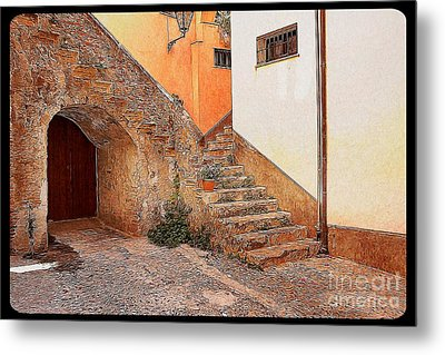 Courtyard Of Old House In The Ancient Village Of Cefalu Metal Print by Stefano Senise