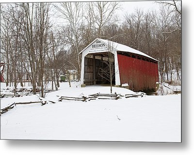 Covered Bridge In Snow Covered Forest Metal Print