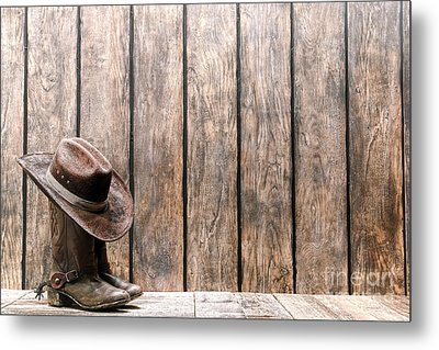Cowboy Hat On Boots Metal Print by Olivier Le Queinec