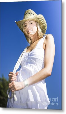Cowgirl In Dress And Hat Metal Print