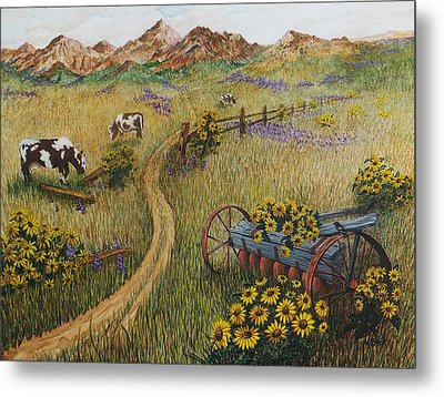 Cows Grazing Metal Print by Katherine Young-Beck