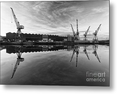 Cranes On The Clyde  Metal Print by John Farnan