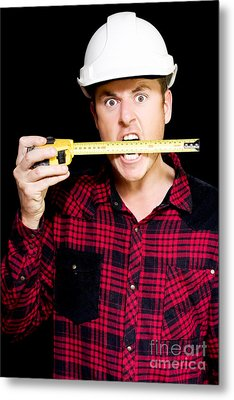 Crazy Builder Biting His Tape Measure Metal Print by Jorgo Photography - Wall Art Gallery