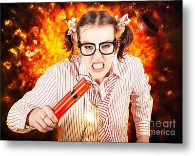 Crazy Business Worker Under Explosive Stress Metal Print by Jorgo Photography - Wall Art Gallery