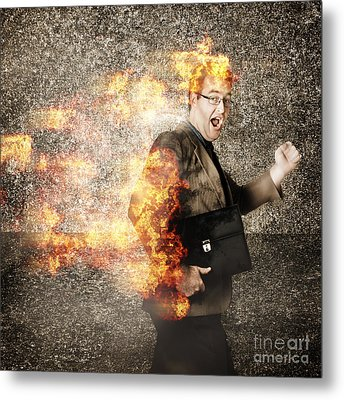 Crazy Businessman Running Engulfed In Fire. Late Metal Print by Jorgo Photography - Wall Art Gallery
