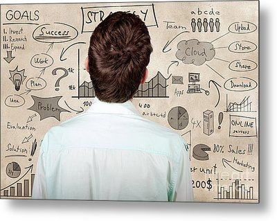 Creative Businessman Looking To Plan Business Idea Metal Print by Jorgo Photography - Wall Art Gallery