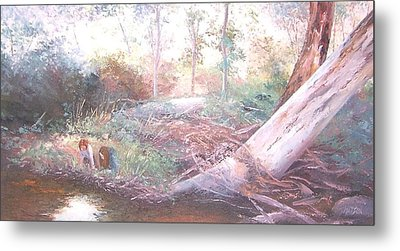 Creek In The Forest Metal Print by Jan Matson