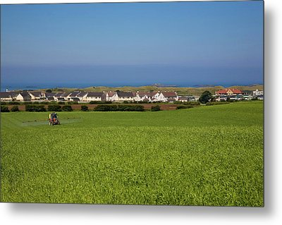 Crop Spraying Barley,near Ballintrae Metal Print by Panoramic Images