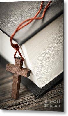 Cross And Bible Metal Print