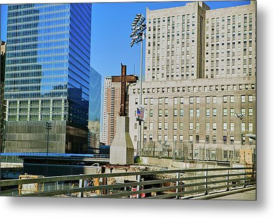 Cross At World Trade Towers Memorial Metal Print