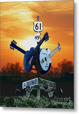 Crossroads Sunset  Blues Highway 61 Metal Print