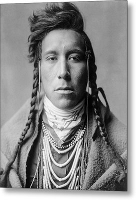 Crow Indian Man Circa 1908 Metal Print by Aged Pixel