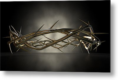 Crown Of Thorns Gold Casting Metal Print by Allan Swart