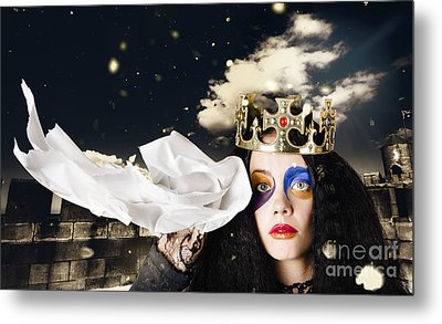 Crying Fairytale Queen Wiping Tears With Tissue Metal Print by Jorgo Photography - Wall Art Gallery