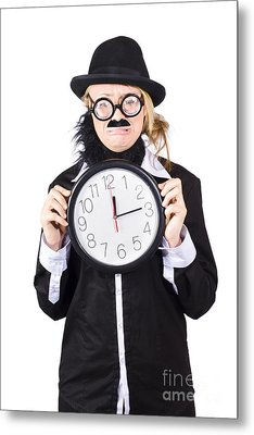 Crying Woman In Disguise Holding Clock Metal Print