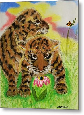 Metal Print featuring the pastel Curiosity by Celeste Manning