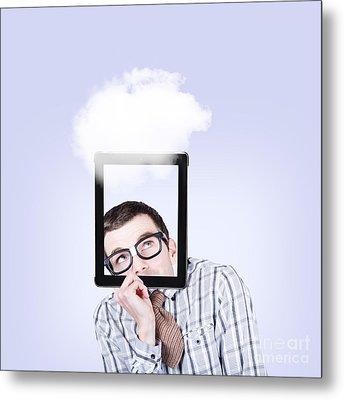 Curious Nerd Business Man Using Cloud Computing Metal Print