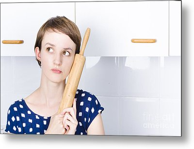 Cute Bakery Girl Holding Rolling Pin In Thought Metal Print by Jorgo Photography - Wall Art Gallery