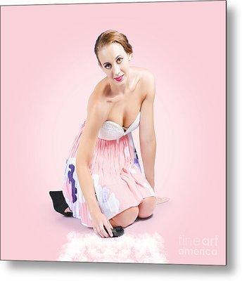 Cute Pin-up Housewife Cleaning Floor By Hand Metal Print