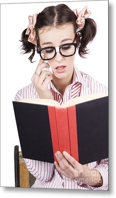 Cute Woman Reading Romance Novel Over White Metal Print by Jorgo Photography - Wall Art Gallery