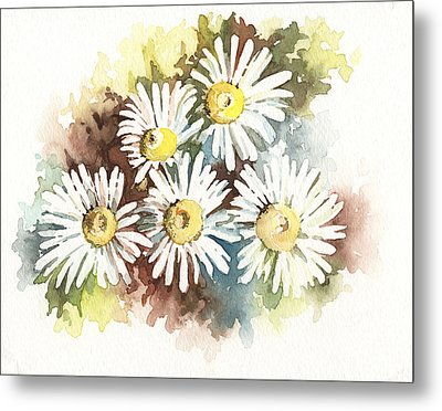 Metal Print featuring the painting Daisies by Natasha Denger